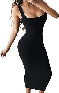 Women's Basic Tank Bodycon Sleeveless Solid Casual Long Dress