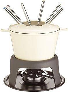 Kitchen Craft Master Class - Fondue de Hierro Fundido esmaltado (con 6 Tenedores), Color Crema