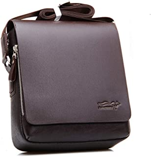 Mens Bag Mens PU Leather Laptop Bag, Office Briefcase,Fits 14 13 Inch Laptop Tablet Brown Black High capacity