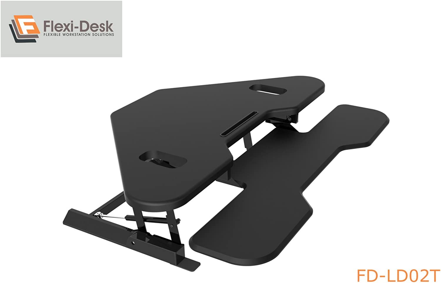 Screen Mounts Corner Sit Stand Desk, Dual Screen Height Adjustable Workstation Space with 8 Positions, 15kg Capacity and iPad iPhone Rest Flexi-Desk LD02T