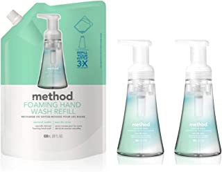 Method Foaming Hand Soap Bundle with Two 10 oz. Dispensers & One 28 oz. Refill | Naturally Derived Hand Soap (Coconut Water)
