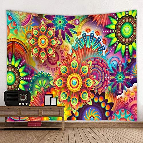Tapiz de pétalos geométricos de colores Mandala bohemio Colgante de pared Playa de arena Picnic Toalla Alfombra Manta Colchón 150x200cm