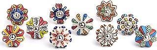 Artncraft Set of 10 Vintage Color Multi Designed Ceramic Cupboard Cabinet Door Knobs Drawer Pulls & Chrome Hardware