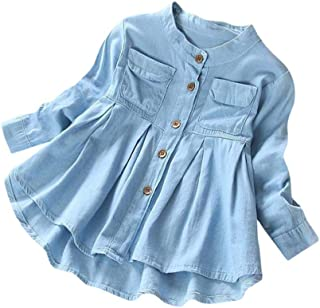 Denim Skirt,Lowprofile Toddler Kid Baby Girls Denim Ruched Long Sleeve T-Shirt Tops Blouse Clothing