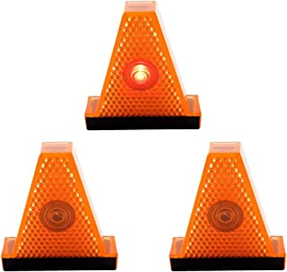 Lot of 3 - Safety Clip-On Light - Orange Hazard Cone with Flashing Red LED,  FC-102.