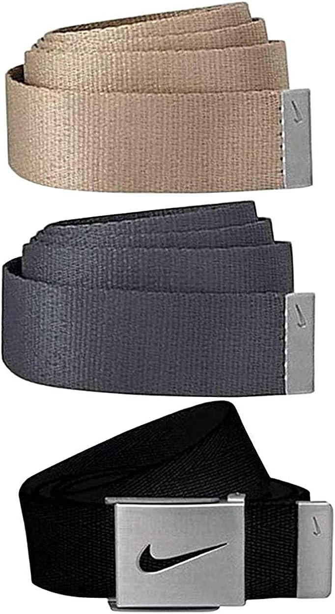 Nike Men's 3 in 1 Web Belt, Black/Khaki/Dark Grey, Black Buckle