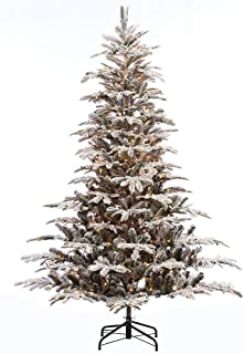 Puleo International 7.5 Foot Pre-Lit Flocked Aspen Fir Artificial Christmas Tree with 700 UL Listed Clear Lights