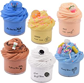 Sunool 6 Pack Butter Slime,Blue Stitch, Yellow Lemon,Pink Peach,Chocolate Brown,Snow White and Blue Candy Slime, Party Fav...