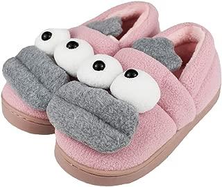 Tirzrro Little Kids Cute Cartoon Monster Slippers with Warm Plush Fleece House Slip-on Shoes