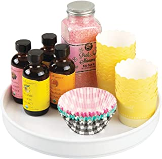 mDesign Lazy Susan plateau tournant en plastique pour épices, aliments, etc. – accessoire de rangement pour placard, armoi...