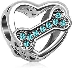 JMQJewelry Dog Bone Animal Heart Charm Love Charms Beads for Bracelets