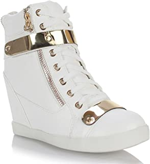 Fashion Thirsty Womens Wedge Concealed Heel High Tops Platform Sneakers Trainers Ankle Boots Shoes