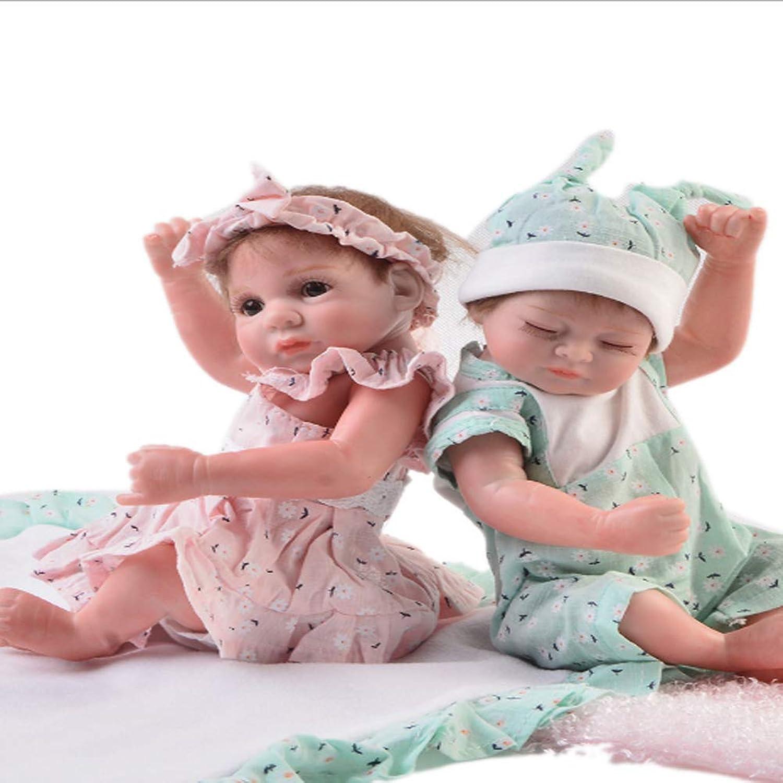 NACHEN Twin Reborn Dolls 28cm Mini Simulation Baby Realistic Winking Girl Cute Closed Eyes Boy Xmas Geschenke