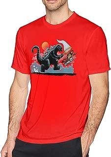 Catching Kaiju Godzilla Fashion Classic Round Collar Tee Red