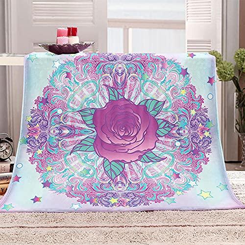 Flor Manta de Tiro Impresa Patrón de Mandala 3D Manta para niños Adultos Mantas de Lana con Franela Ligera Manta para sofá de Cama y Viaje 130x150cm