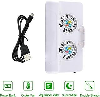 XFUNY 3 合 1 手机冷却器,USB 冷却双风扇散热器/支架/移动电源,带 4400mAh 可充电电池,适用于 iPhone Samsung 和 Android 手机 白色