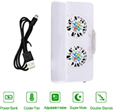 XFUNY 3 in 1 Cell Phone Cooler, USB Cooling Dual Fan Radiator/Stand Holder/Power Bank with 4400mAh Rechargeable Battery for iPhone Samsung and Android Phones (White)