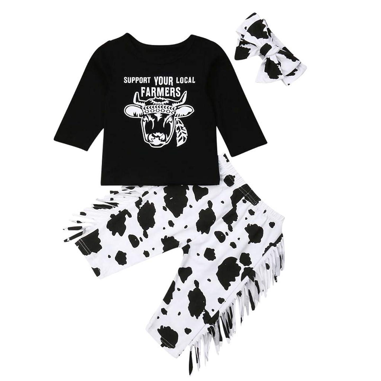 翻訳測定可能あらゆる種類のベビー服 トップス Rouhuiky 可愛い 長袖 3点セット 牛ローブ+スポットパンツ+ヘアバンド 女の子 子供用 男の子 コットン ボディオール 普段着 新生児服 文化祭 出産祝い