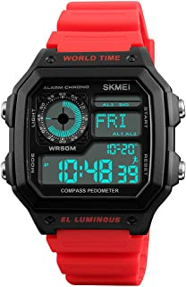 TONSHEN Outdoor Digital Compass Watch for Men and Women 50M Waterproof Plastic Case with Rubber Band LED Electronic Multifunction Military Sport Watches Calories Pedometer (Red)