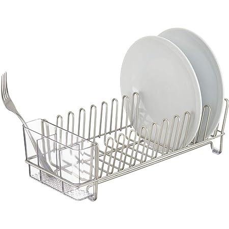 mDesign égouttoir à vaisselle pour la cuisine – avec un range couverts – egouttoir vaisselle inox pour assiettes, verres, tasses, etc. – en acier – satiné/transparent