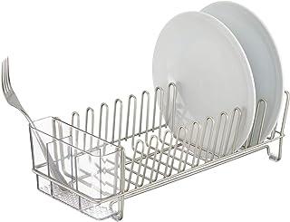 mDesign Escurridor de platos de acero inoxidable – Escurreplatos de plástico con cubertero – Elegante escurrecubiertos para vajilla – Hasta 15 platos + cubiertos – Plateado/Transparente