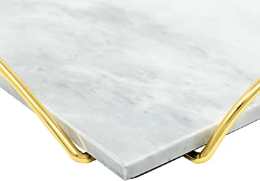 White Marble Tray with Gold Metal Handles - Real Marble Decorative Tray for Vanity - Chic Modern Perfume Tray (Rectangle, Whi
