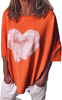 HEFASDM Women O-Neck Casual Hearts Printed Pure Color Short Sleeves Tops