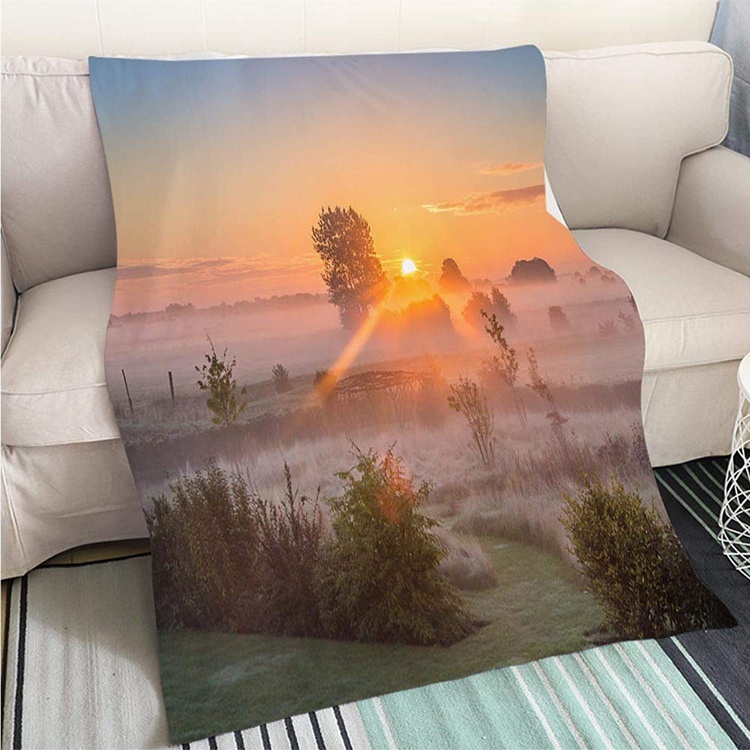 BEICICI Comforter Multicolor Bed or Couch Late Summer Sunrise Fun Design AllSeason Blanket Bed or Couch