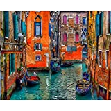 Noche de Venecia paisaje de la ciudad DIY pintura digital por números pintura acrílica por números cuadro de arte de pared para regalo A1 45x60cm