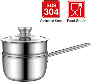 BOMA Stainless Steel 3-Piece 2-Quart 2-Tier Pasta/Steamer/Saucepan Set with Tempered Glass Lid and Double Handles - Easy to Clean, Dishwasher Safe (Stainless Steel Color)