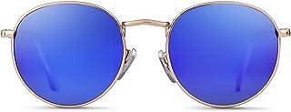 GIFIORE - Gafas de sol redondas polarizadas espejadas, modernas gafas unisex