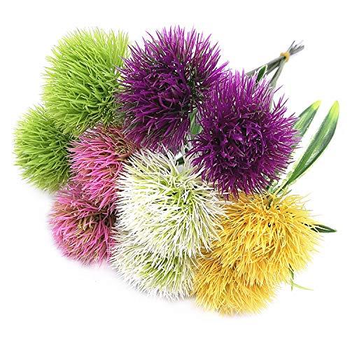 CATTREE Artificial Dandelion Flowers, Plastic Plants Shrubs Bushes Fake Grass Wedding Indoor Outdoor Home Garden Decoration Planter Filler- 5 Color x 2pcs Purple Pink White Green Yellow – Total 10 Pcs