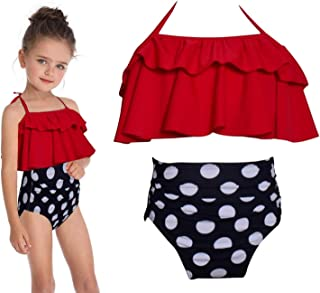 Baby Kids Girls Bikini Two Pieces Swimsuit Set 1 Red Tops and 1 Black Dots Shorts