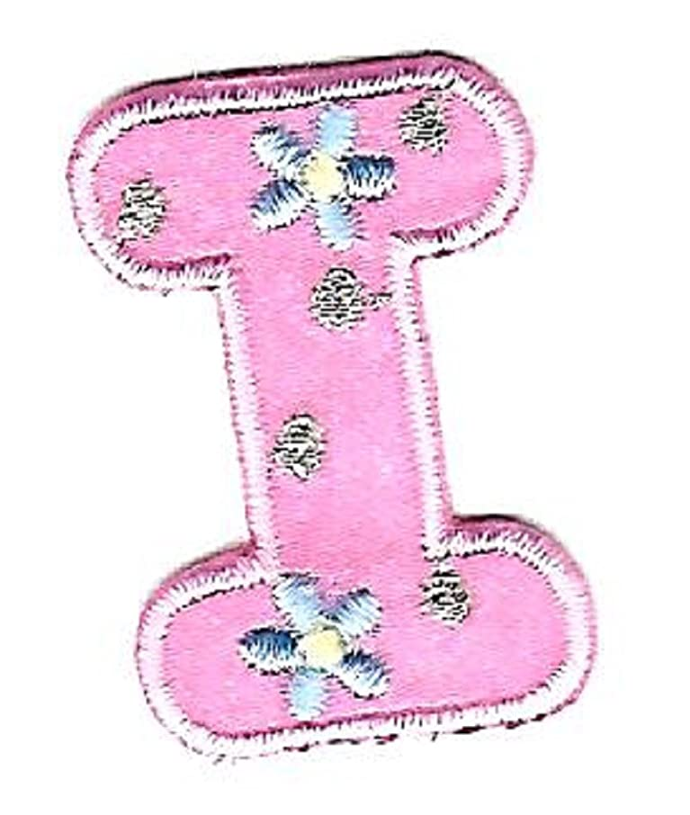 BEEKLEY BOWS Iron On Craft Sewing Embellishment Letter Appliques (I, Floral Pattern, Pink/Light Blue/Yellow/Gold)