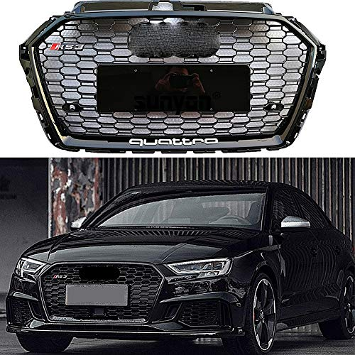 HOUADDY RS3 Estilo ABS Grill Negro Brillante Rejilla para Elementos Parte Frontal Audi A3 S3 8V 17-19 Miel Malla del Parachoques Delantero de Carreras de Coches Parrillas Parachoques Styling Radiador