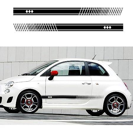 Set Streifen Fiat 500 Abarth Tuning Klebestreifen Zubehör Sticker Decal Seitliche Aufkleber Sport Stripes Aufkleber Seitliche Aufkleber Für 500 Turbo Abarth Tuning Ambedue Le Fancate Rot Auto