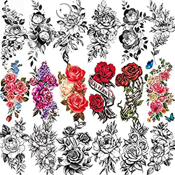 EGMBGM 18 Sheets 3D Rose Flower Temporary Tattoos For Women Black Floral Tattoo Temporary Stickers For Adults Girls Long Lasting Large Realistic Fake Tatoo Peony Lily Peach Tatto For Neck Arm Sketch