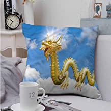 Fbdace Square Pillow Case Cover Dragon Cultural Chinese Symbol for Sofa Bedroom Car 16 X 16 Inch