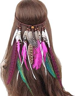 dressfan Diadema India Hippie Banda para el cabello Bohemia Pluma Gypsy Tocado Vistoso Banquete de banquete de boda Celebración
