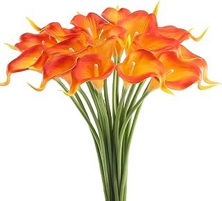 GTIDEA 20Pcs Fake PU Calla Lily Artificial Flowers Bride Wedding Bouquet for Table Centerpieces Arrangements Home DIY Garden Office Decor (Orange)