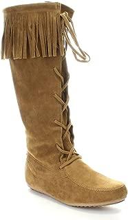Baylee-09 Women's Fashion Fringe Lace Up Knee High Boots