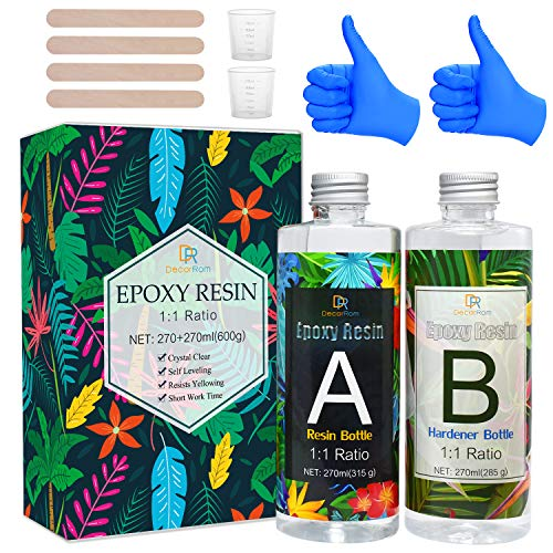 Epoxy Resin Kit - 540ml / 600g Crystal Clear Epoxy Resin for Casting and Coating - Easy Mix 1:1 Ratio Transparent 2 Part Resin for Table Tops, Jewelry Making, Tumbler, Painting and Craft Decoration