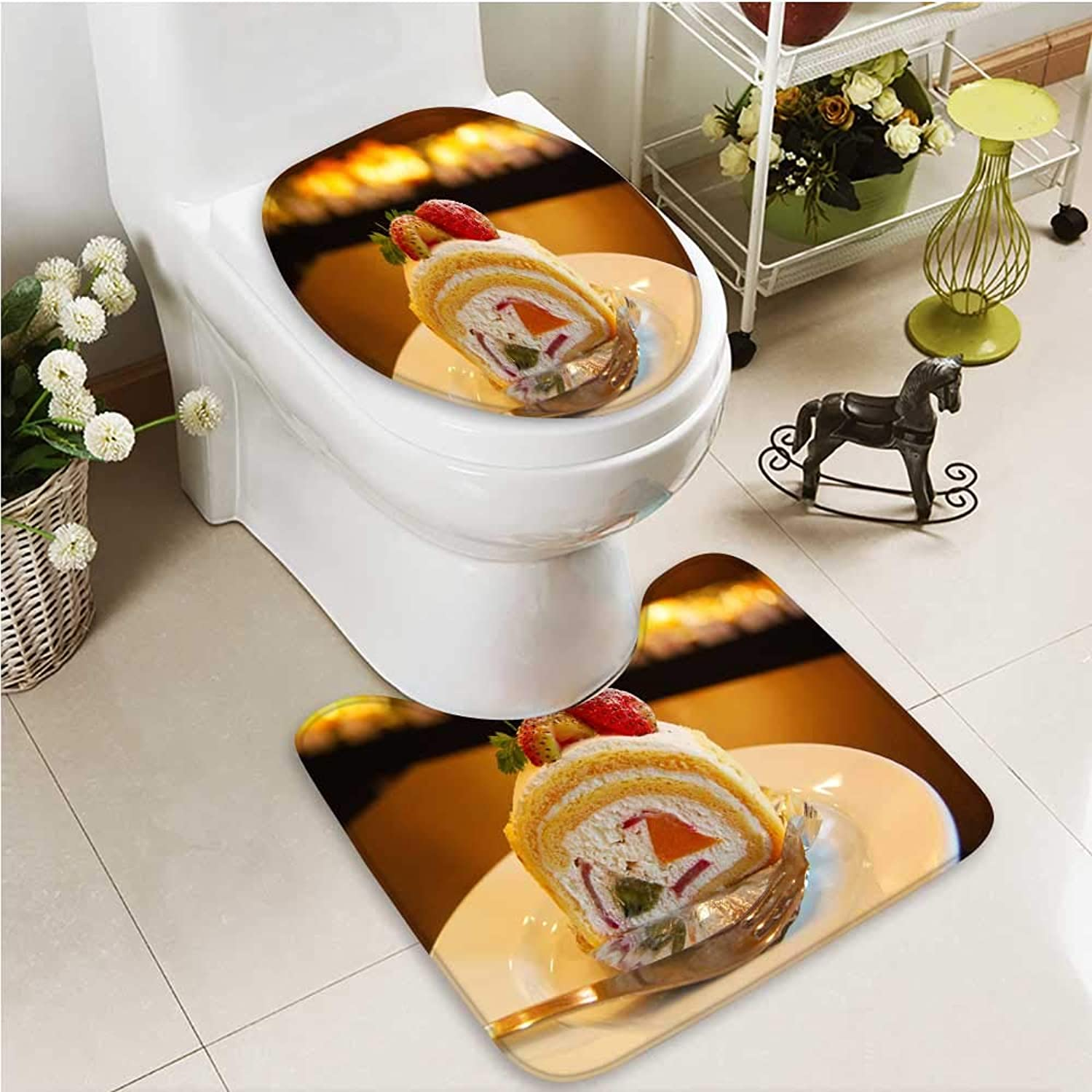 Printsonne Bathroom Non-Slip Floor Mat A Sweet and Creamy Cake with High Absorbency