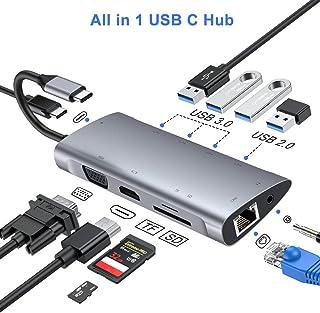 FLYLAND Hub USB C Adaptador Tipo C Hub con 1080P VGA Conector de Audio de 3.5 mm 4K HDMI Ethernet RJ45 4 Puertos USB 3.0/2.0 Puerto USB-C PD Hub Lector de Tarjetas SD/TF para Macbook y más
