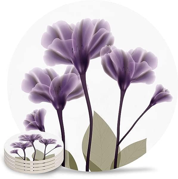 薰衣草希望紫色杯垫饮料吸水石头有趣优雅的花卉装饰顶部与软木背衬 4 套