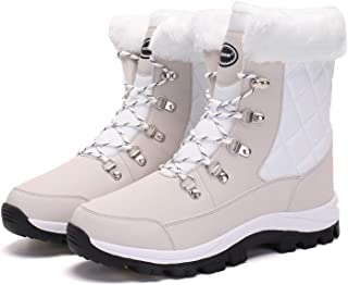Women's Snow Boot with Waterproof Lace Up Mid-Calf Outdoor Winter Deep Tread Rubber Sole
