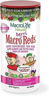 MacroLife Naturals MacroBerri Reds Drink Powder for Kids Organic Superfood Fruits & Veggies, Probiotics, Digestive Enzymes...