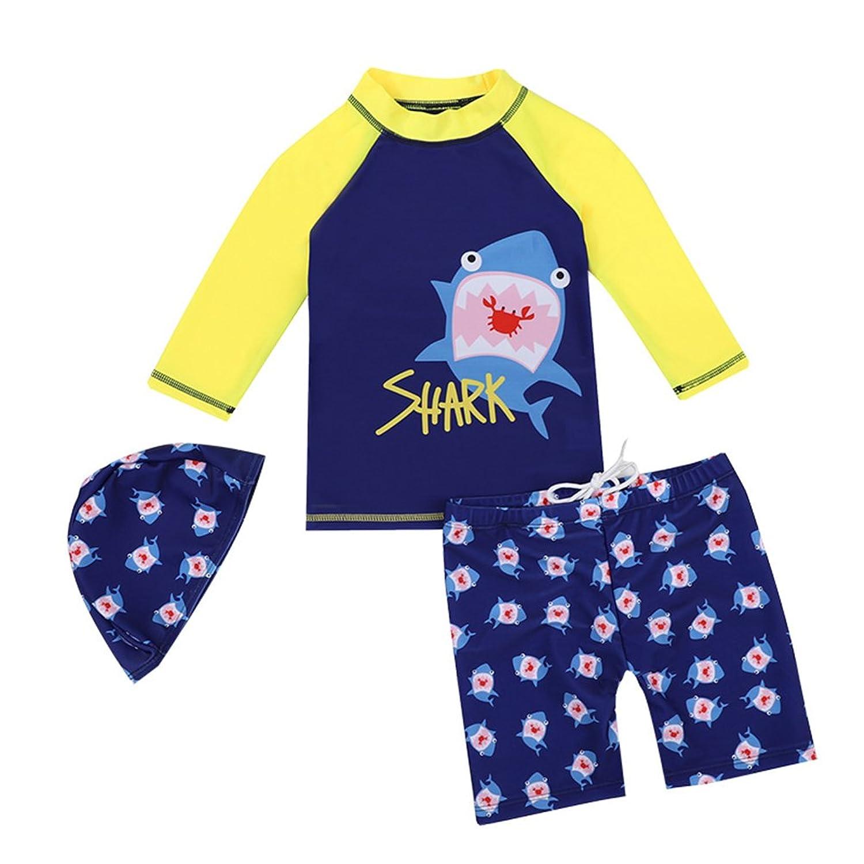 子供 水着 男の子 ラッシュガード Asiso 帽子付き3点セット サメ柄?