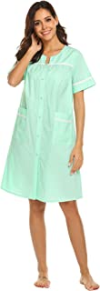 Ekouaer Women's Sleepwear Snap Front Cotton Nightgown Short Sleeve House Dress S-XXL