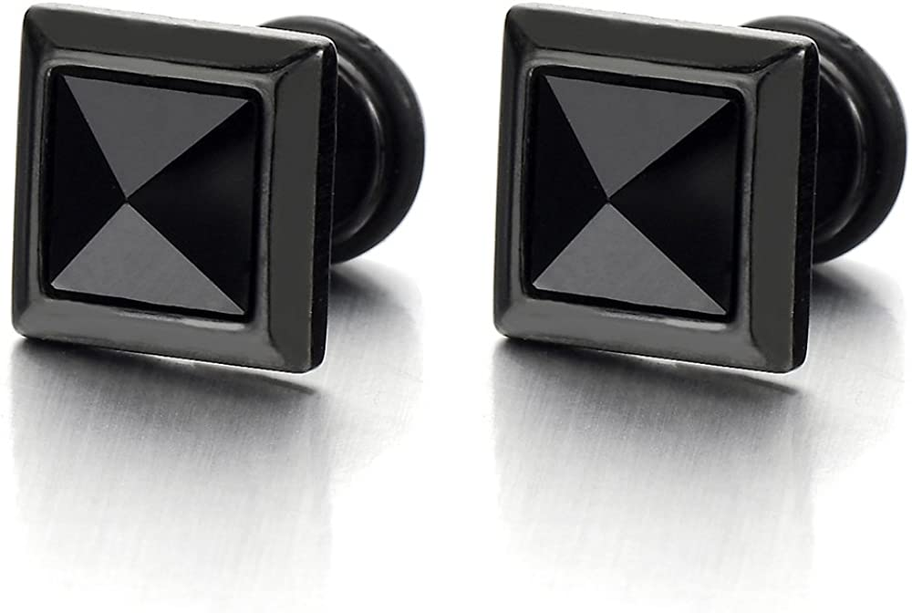 9MM Mens Square Black Stud Earrings Steel Cheater Fake Ear Plugs Gauges with Black CZ, 2pcs